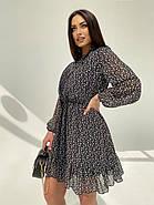Легке, повітряне плаття з турецького креп-шифону тренд 2021, 00592 (Чорно-білий), Розмір 44 (M), фото 2