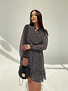 Легкое, воздушное платье из турецкого креп-шифона тренд 2021, 00592 (Черно-белый), Размер 44 (M), фото 3