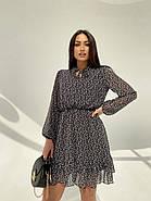 Легкое, воздушное платье из турецкого креп-шифона тренд 2021, 00592 (Черно-белый), Размер 44 (M), фото 5