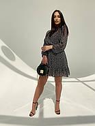Легке, повітряне плаття з турецького креп-шифону тренд 2021, 00592 (Чорно-білий), Розмір 44 (M), фото 6