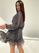 Легке, повітряне плаття з турецького креп-шифону тренд 2021, 00592 (Чорно-білий), Розмір 44 (M), фото 7
