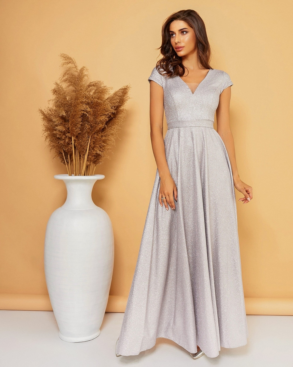 Вечірнє довге плаття з декольте та юбкою кльош, 00686 (Сірий) ,Розмір 46 (L)