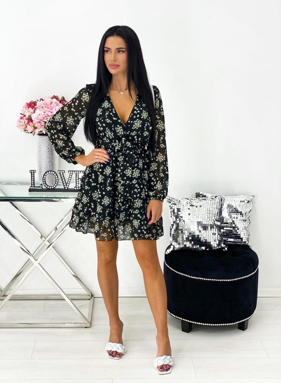Легке жіноче плаття з воланом довгий рукав ліхтарик, 00548 (Чорний), Размер 46 (L)