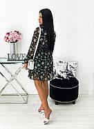 Легке жіноче плаття з воланом довгий рукав ліхтарик, 00548 (Чорний), Размер 46 (L), фото 2