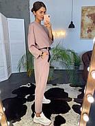 Оригінальний брючний жіночий костюм з поясом, 00716 (Пудровий), Розмір 42 (S), фото 3