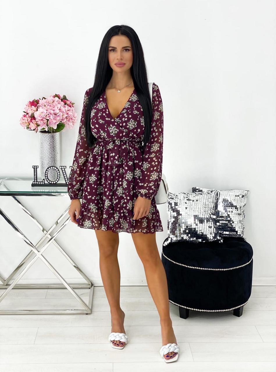 Короткое нежное шифоновое платье  с декольте на подкладке, 00550 (Марсала), Размер 46 (L)