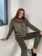 Удобный трендовий женский костюм замш на дайвинге, 00509 (Хаки), Размер 44 (M), фото 4