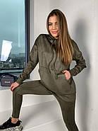 Удобный трендовий женский костюм замш на дайвинге, 00509 (Хаки), Размер 44 (M), фото 5