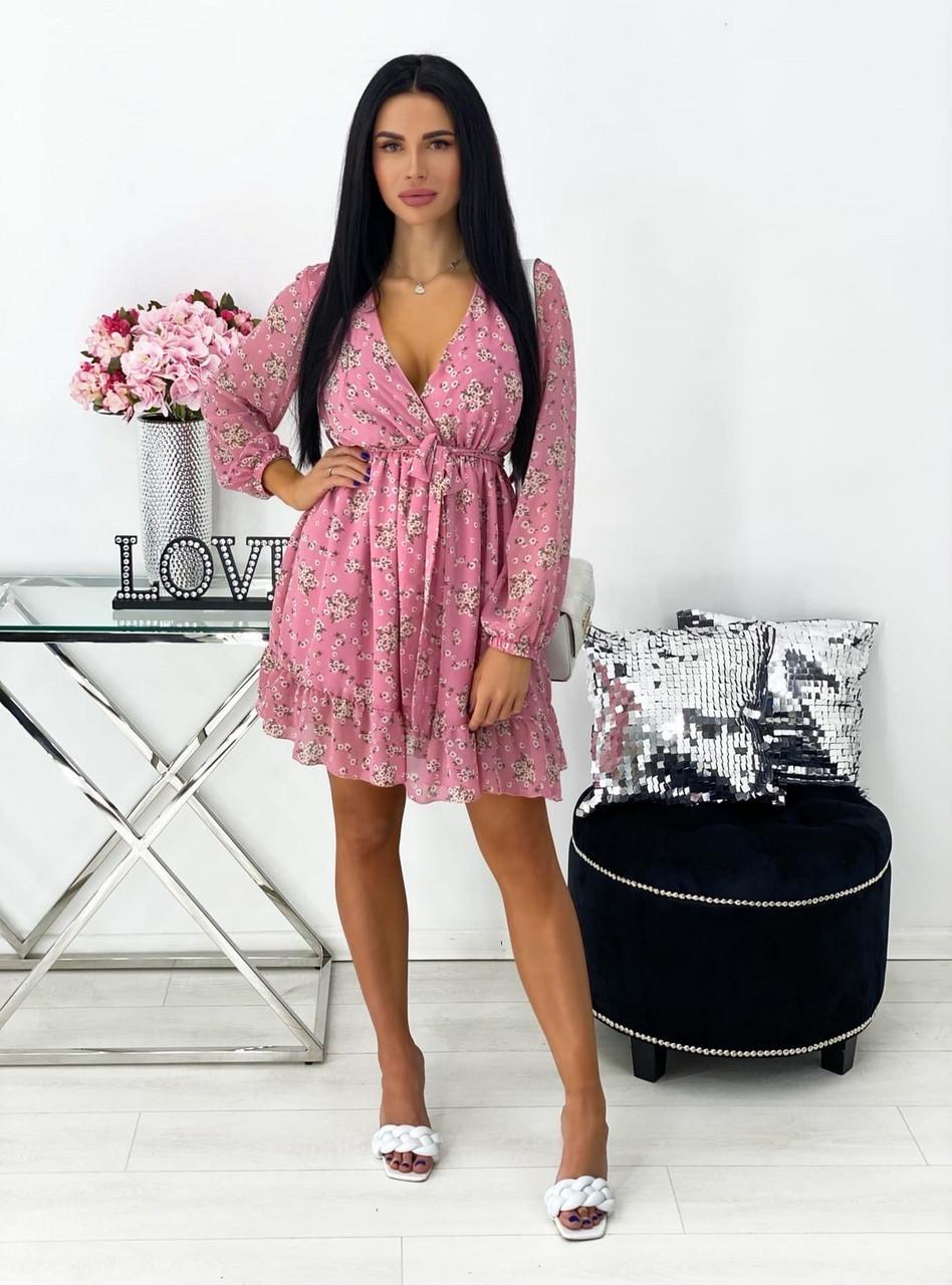 Платье из шифона с цветочным принтом и расклешенной юбкой, 00549 (Розовый), Размер 44 (M)