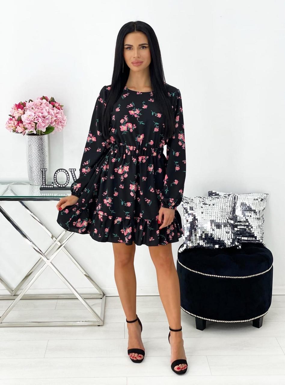 Трендовое женское весеннее платье с рюшами цветочный принт, 00678 (Розовый), Размер 44 (M)