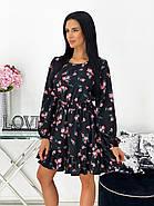 Трендовое женское весеннее платье с рюшами цветочный принт, 00678 (Розовый), Размер 44 (M), фото 2
