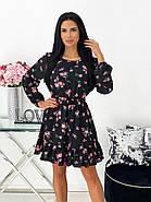 Трендовое женское весеннее платье с рюшами цветочный принт, 00678 (Розовый), Размер 44 (M), фото 3