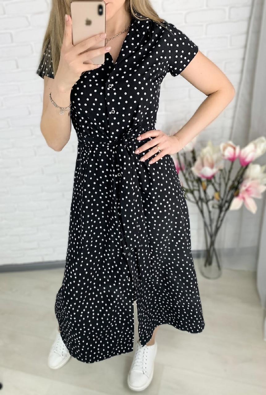 Стильное и удобное платье на пуговицах, 00514 (Черный), Размер 44 (M)