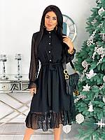 Женское легкое платье с длинными рукавами, 00362 (Черный), Размер 42 (S)