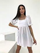 Легкое льняное платье со шнуровкой на спине, рукав фонарик, 00576 (Белый), Размер 44 (M), фото 2