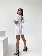 Легкое льняное платье со шнуровкой на спине, рукав фонарик, 00576 (Белый), Размер 44 (M), фото 3