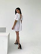 Легкое льняное платье со шнуровкой на спине, рукав фонарик, 00576 (Белый), Размер 44 (M), фото 4
