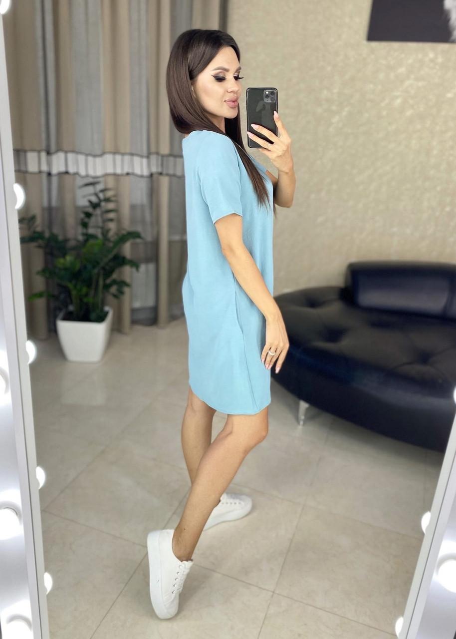 Летнее платье свободного кроя, креп-жатка отличного качества, 00718 (Голубой), Размер 44 (M)