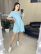 Летнее платье свободного кроя, креп-жатка отличного качества, 00718 (Голубой), Размер 44 (M), фото 2