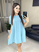 Летнее платье свободного кроя, креп-жатка отличного качества, 00718 (Голубой), Размер 44 (M), фото 3