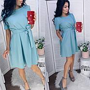 Летнее платье свободного кроя, креп-жатка отличного качества, 00718 (Голубой), Размер 44 (M), фото 4