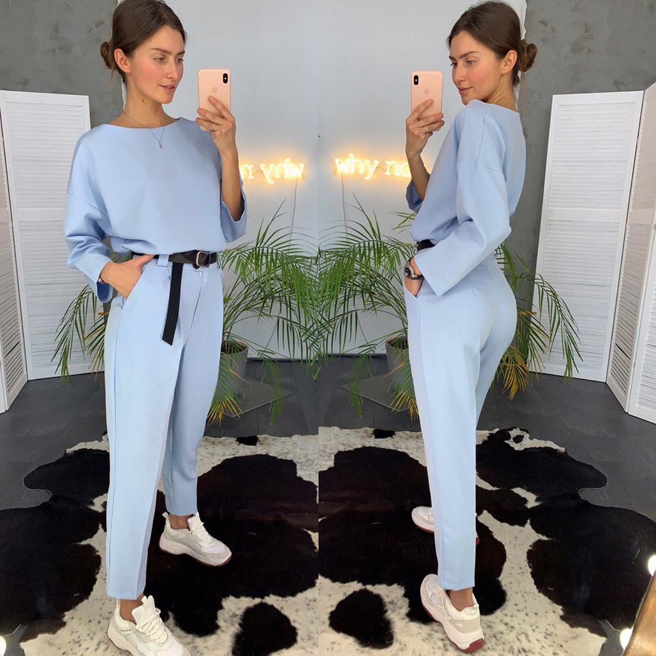 Стильный и модный женский костюм (брюки со стрелкой плюс кофта), 00714 (Голубой), Размер 42 (S)