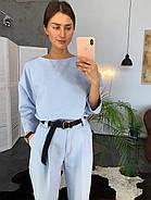 Стильный и модный женский костюм (брюки со стрелкой плюс кофта), 00714 (Голубой), Размер 42 (S), фото 2