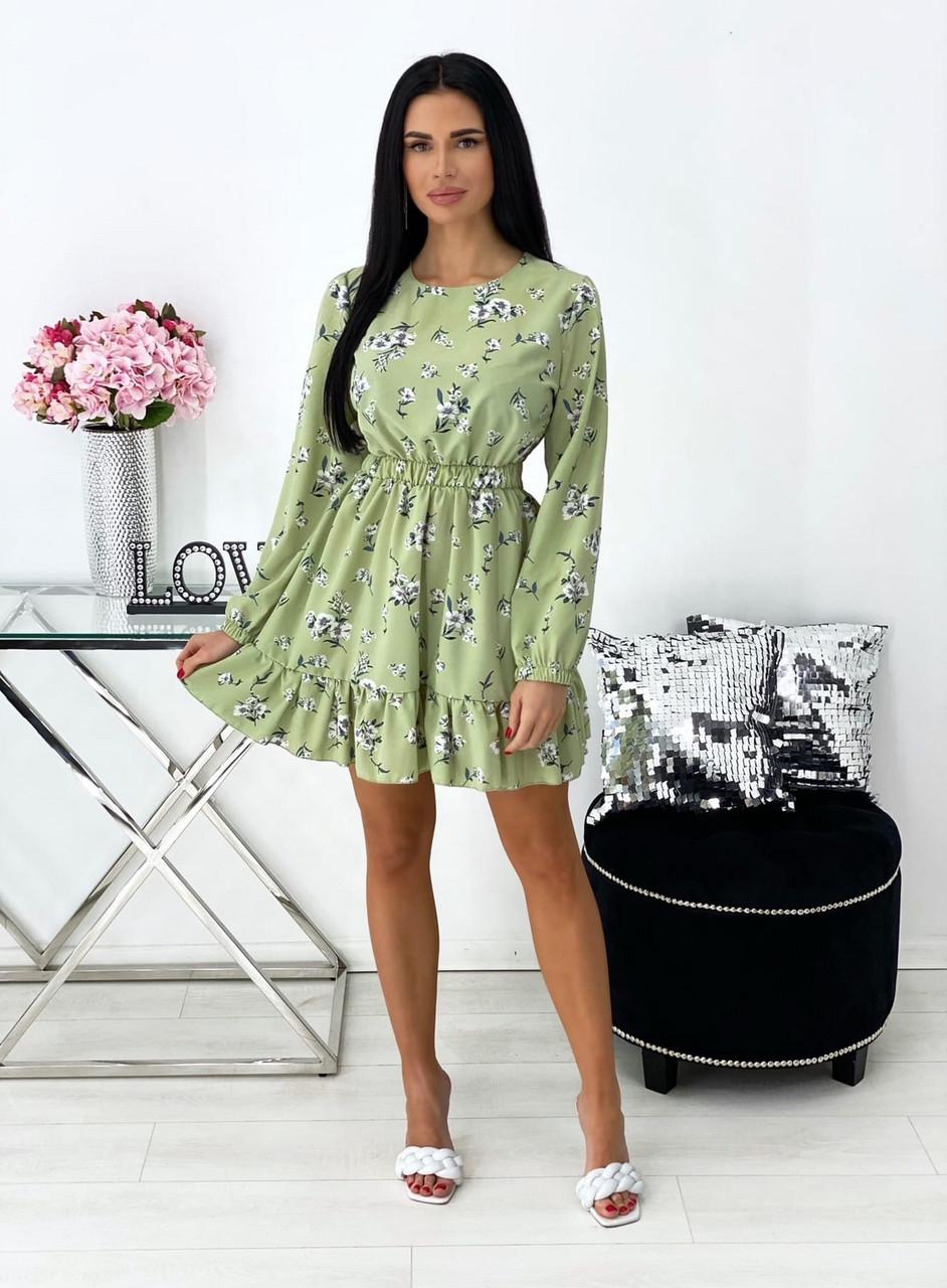 Женское короткое платье в цветочный принт с воланами на юбке, 00676 (Оливковый), Размер 42 (S)