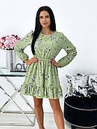 Женское короткое платье в цветочный принт с воланами на юбке, 00676 (Оливковый), Размер 42 (S), фото 3