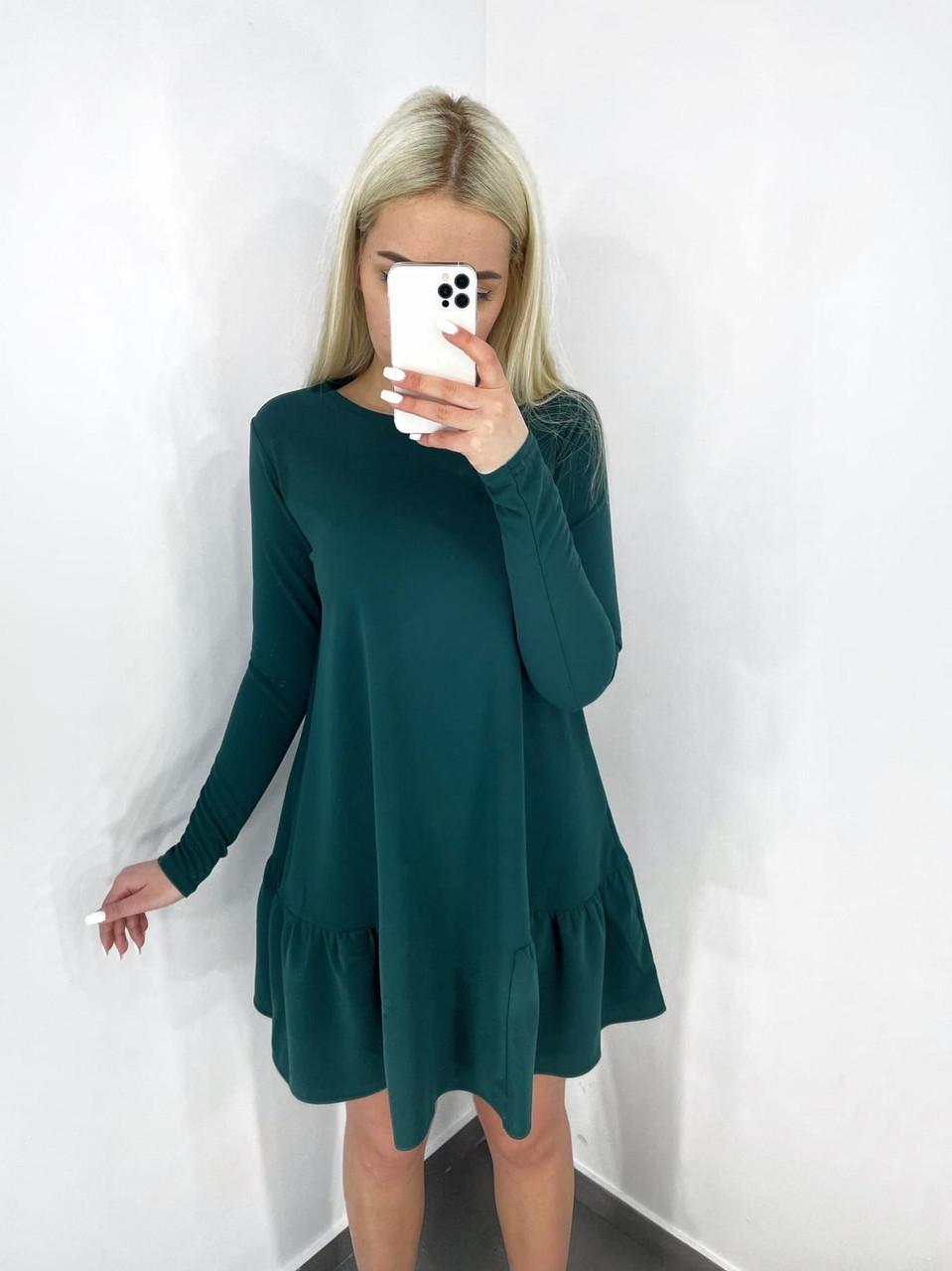 Модне офісне плаття з креп-дайвінгу з кишенями, 00527 (Пляшковий), Размер 44 (M)