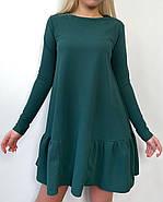 Модне офісне плаття з креп-дайвінгу з кишенями, 00527 (Пляшковий), Размер 44 (M), фото 2