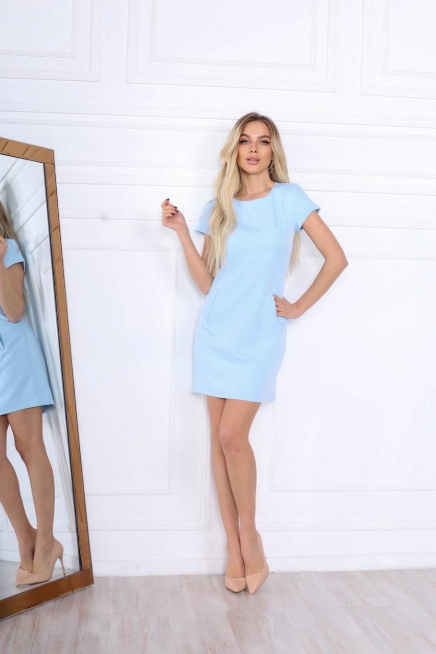 Практичне прямого крою жіноче плаття з коротким рукавом, 00669 (Голубий), Розмір 48 (XL)