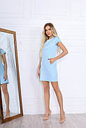 Практичне прямого крою жіноче плаття з коротким рукавом, 00669 (Голубий), Розмір 48 (XL), фото 3