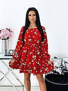 Коротке плаття з воланами і довгим рукавом, софт - принт, 00680 (Червоний), Розмір 46 (L), фото 2