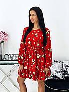 Коротке плаття з воланами і довгим рукавом, софт - принт, 00680 (Червоний), Розмір 46 (L), фото 3
