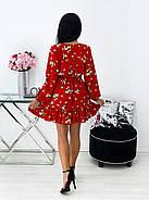 Коротке плаття з воланами і довгим рукавом, софт - принт, 00680 (Червоний), Розмір 46 (L), фото 4