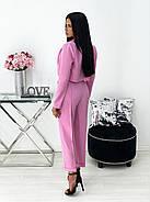 Стильний брючний костюм з коротким оригінального крою піджаком, 00687 (Рожевий), Розмір 42 (S), фото 3