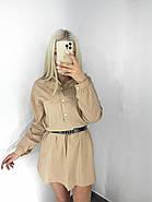 Стильне коротке плаття-сорочка з довгим рукавом, 00529 (Бежевий), Размер 44 (M), фото 2