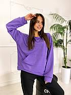 Стильний жіночий спортивний костюм двійка (світшоти, штани), 00586 (Фіолетовий), Размер 46 (L), фото 3