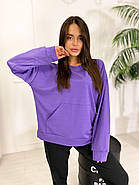 Стильний жіночий спортивний костюм двійка (світшоти, штани), 00586 (Фіолетовий), Размер 46 (L), фото 5