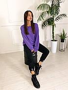 Стильний жіночий спортивний костюм двійка (світшоти, штани), 00586 (Фіолетовий), Размер 46 (L), фото 7
