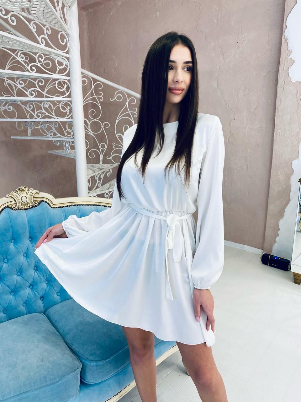 Жіноче плаття з довгим рукавом з шовку, 00521 (Білий), Размер 44 (M)