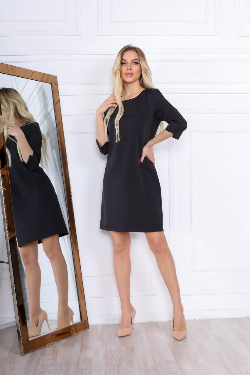 Класичне жіноче коротке плаття на змійці, рукав ¾, 00696 (Чорний), Розмір 44 (M)