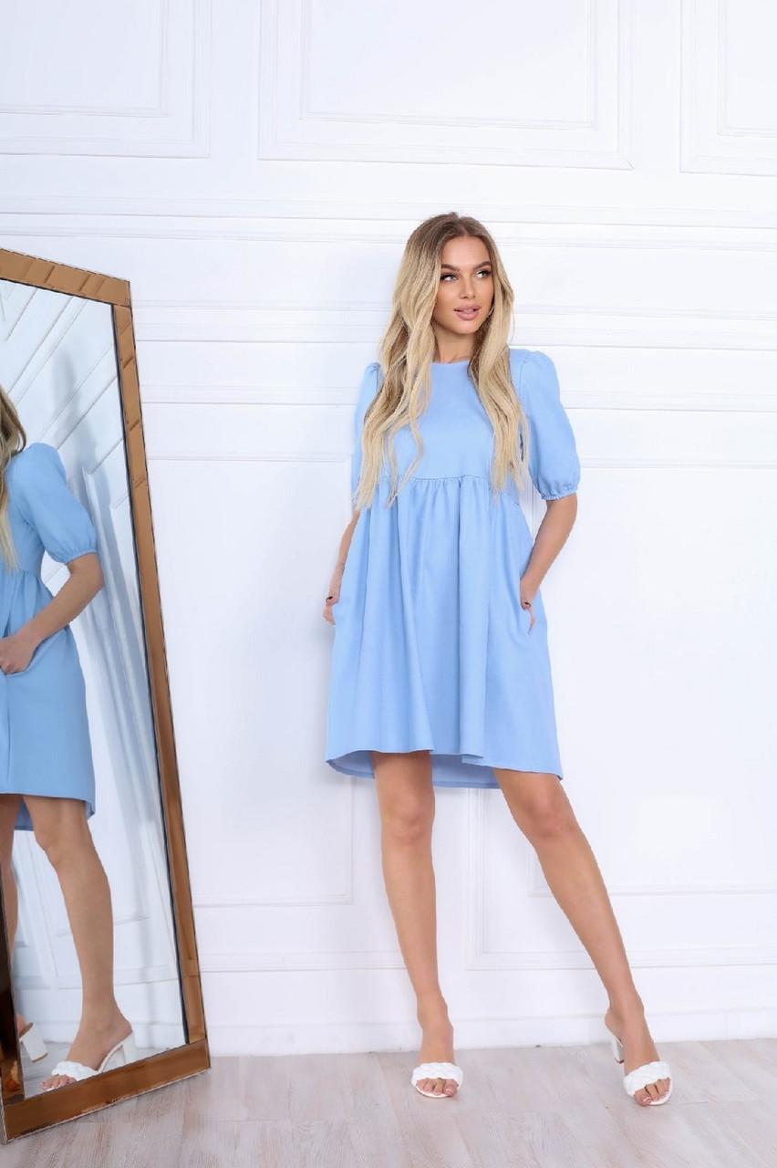 Жіноче плаття вільного крою з рукавами ліхтарик до ліктя, 00675 (Голубий), Розмір 42 (S)