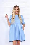 Жіноче плаття вільного крою з рукавами ліхтарик до ліктя, 00675 (Голубий), Розмір 42 (S), фото 2