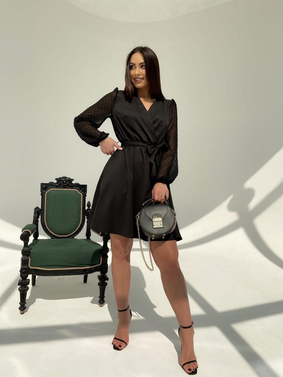 Класичне і легке плаття з імітацією запаху і рукавом в горошок, 00593 Ґ(Чорний), Розмір 44 (M)
