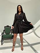 Класичне і легке плаття з імітацією запаху і рукавом в горошок, 00593 Ґ(Чорний), Розмір 44 (M), фото 3