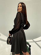Класичне і легке плаття з імітацією запаху і рукавом в горошок, 00593 Ґ(Чорний), Розмір 44 (M), фото 4