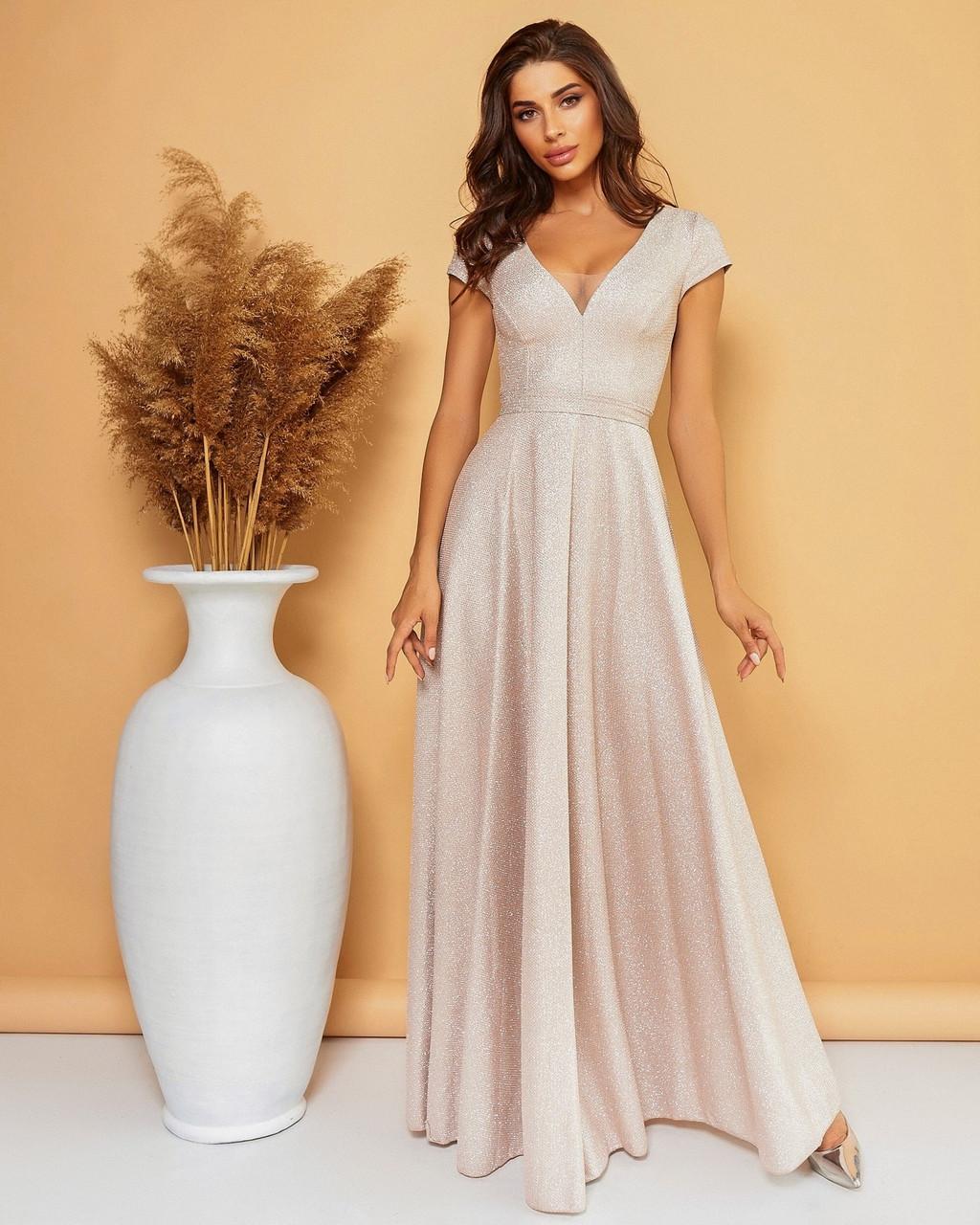 Нарядное длинное женское платье с красивым декольте, 00685 (Бежевый), Размер 46 (L)