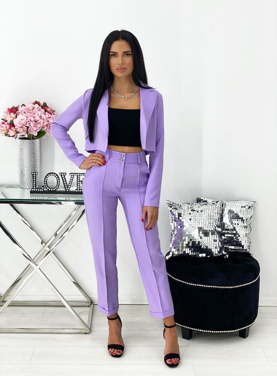 Діловий жіночий костюм двійка (піджак + штани), 00690 (Лавандовий), Розмір 42 (S)